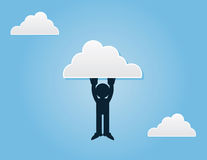 Figure Hanging From Cloud. Silhouette figure hanging from a cloud Royalty Free Stock Photo
