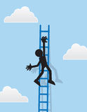 Figure Hanging From Ladder. Silhouette figure hanging from a ladder Stock Photography