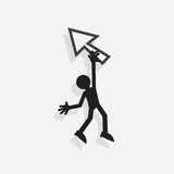 Figure Hanging From Pointer. Silhouette figure hanging from digital pointer arrow Stock Images