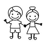 Figure happy chidren with hand together icon Royalty Free Stock Photo