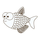Figure happy fish scalescartoon icon Royalty Free Stock Photos