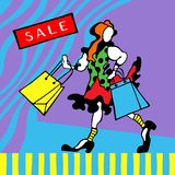 Figure of happy readhead girl with shopping bags on a graphic background. Sale card. vector illustration