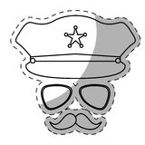 Figure hat, glasses and mustache police Royalty Free Stock Images
