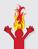 Figure Head On Fire. Figure with head on fire Royalty Free Stock Photography