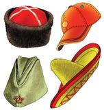 Figure headgear helmet hat helmet karakul ornament. Figure headgear helmet hat helmet  caucasus felt  sheepskin starkarakul ornament straw sport Royalty Free Stock Photography