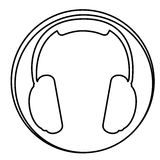 Figure headphone emblem icon. Illustraction design Stock Images