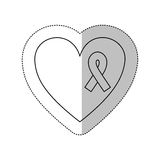 Figure heart with breast cancer ribbon icon Stock Image