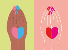 Figure heart on his hands. Vector illustration Stock Images