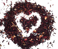Figure heart of red tea Hibiscus Royalty Free Stock Images