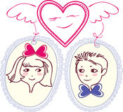 Figure heart with wings, which has chosen pair. The girl and boy are shown in small portraits. Under the image of the heart and the circuit is no border Stock Photography