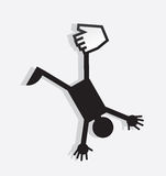Figure Held By Digital Hand. Figure hanging from a digital hand Royalty Free Stock Images