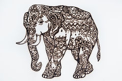 Figure henna Indian elephant on a white background. Stock Photo