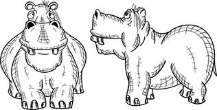 Figure hippopotame sur un fond blanc Photographie stock