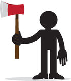 Figure Holding Ax. Figure silhouette holding red ax Royalty Free Stock Image
