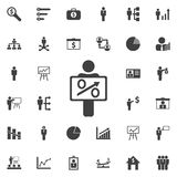 Figure Holding Blank Sign. Figure Holding Blank icon. Business icons set Stock Photos
