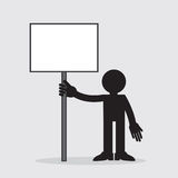 Figure Holding Blank Sign Royalty Free Stock Image