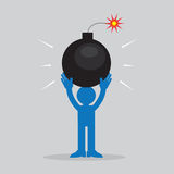 Figure Holding Bomb. Figure holding large lit bombn Stock Photo