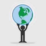 Figure Holding Earth. Figure holding up the planet earth Royalty Free Stock Image