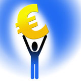 Figure holding euro sign Stock Images