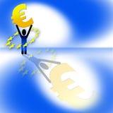 Figure holding euro sign Stock Photo