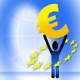 Figure holding euro sign Stock Image