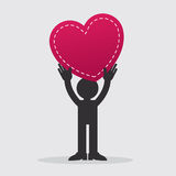 Figure Holding Heart. Figure holding large heart up in the air Royalty Free Stock Photos