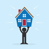 Figure Holding House. Figure holding up house above head Stock Photography