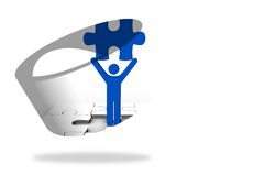 Figure holding jigsaw piece on abstract screen. On white background Royalty Free Stock Images