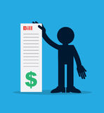 Figure Holding Large Bill. Figure holding up large bill Stock Images