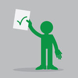 Figure Holding Paper Up Check. Silhouette figure holding up a piece of paper with check mark Stock Photos