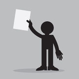 Figure Holding Paper Up. Silhouette figure holding up a piece of paper Royalty Free Stock Photography