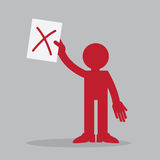 Figure Holding Paper Up X. Silhouette figure holding up a piece of paper with x mark Stock Image