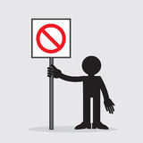 Figure Holding Sign. Silhouette figure holding sign with cross out symbol Royalty Free Stock Photo