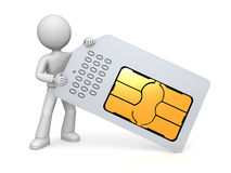 Figure holding SIM card Stock Photography