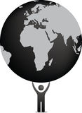 Figure holding the world. Eco illustration in black and white of figure holding planet earth Stock Image