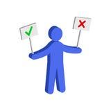 Figure homme se tenant juste et signes faux Icône isométrique plate ou Images stock