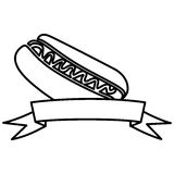 Figure hot dog fast food with ribbon icon. Illustraction design Royalty Free Stock Images