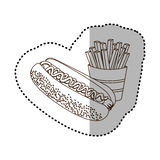 Figure hot dog and fries french icon Royalty Free Stock Photography