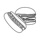 Figure hot dog and hamburger icon Stock Photo