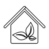 Figure house with leaves inside icon. Illustraction design image Royalty Free Stock Images