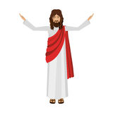 Figure human of Jesus Christ with hands up. Illustration Royalty Free Stock Photo