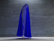 Figure hunched over under transparent cloth. Human elements were created with 3D software and are not from any actual human likenesses Royalty Free Stock Photo