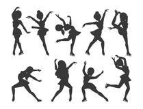 Figure ice skater vector cartoon trick figure women beauty sport girls doing exercise and tricks jumping ice skater. Characters dancer figurist skates girls Stock Images