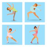 Figure ice skater vector cartoon trick figure women beauty sport girls doing exercise and tricks jumping ice skater. Characters dancer figurist skates girls Royalty Free Stock Photos