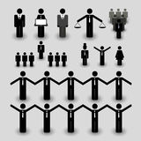 Figure Icons for Business and Team Work Concepts. Set of Various Black and White Figure Icons Representing Teamwork - illustration in freely scalable and Royalty Free Stock Photos
