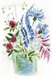 Figure illustration of a bouquet of meadow wildflowers in a vase royalty free stock photography