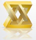 Figure impossible signe d'or d'icône, concept d'infini, V abstrait Image stock