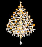 Figure included chandelier with crystal pendants. On the black Stock Images