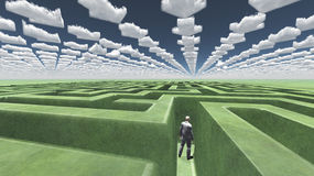 Figure inside of maze with arrow clouds Stock Images