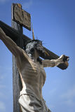 Figure of Jesus on the cross carved in wood by the sculptor Gabino Amaya Guerrero Stock Photos